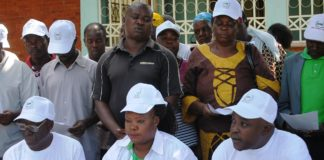 Amani National Congress (ANC) officials with their supporters when they addressed the press