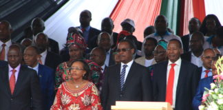 Deputy President William Ruto (left) addressed the issue of unemployment during the Labour Day celebrations at Uhuru Park