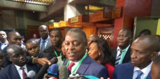 UDP presidential candidate Cyrus Jirongo addressing the press in Nairobi