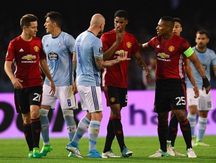 Manchester United defeated Celta Vigo in the Europa League first leg semi final clash