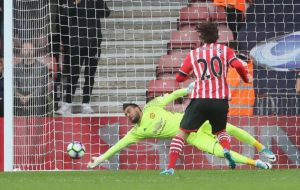 Manchester United keeper Sergio Romero saving a penalty against Southampton
