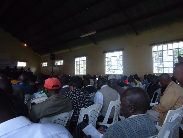 Leaders at a peace meeting in Kapsabet, Nandi County