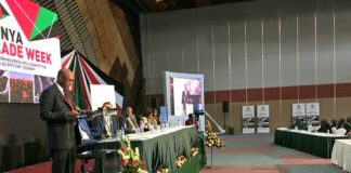 Cabinet Secretary for Industry, Trade and Cooperatives Adan Mohamed addressing listeners during the Kenya Trade Week launch