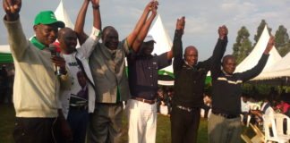 Bungoma gubernatorial aspirant Wycliffe Wangamati togetehr with other leaders at the function in Webuye East constituency, where he urged the Tachoni community to support his bid