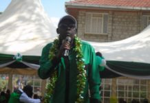 Likuyani MP Dr. Enoch Kibunguchy addressing residents