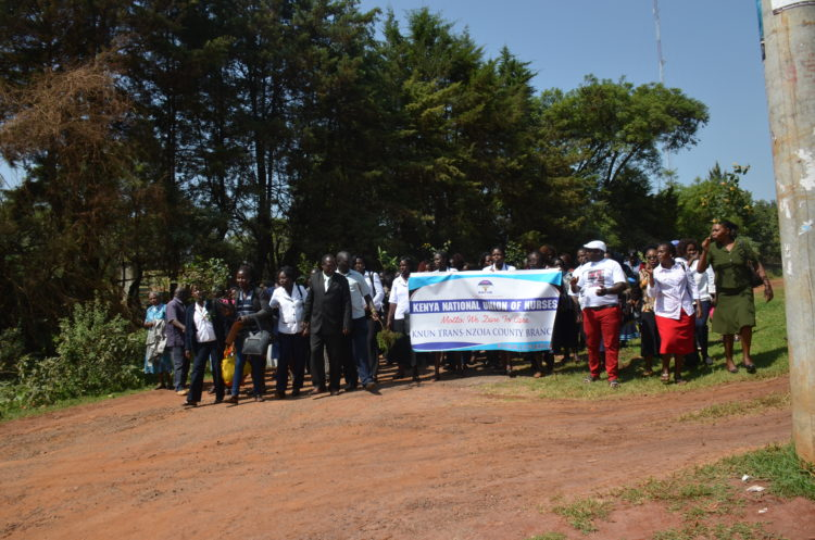 The ongoing nurses' strike has paralyzed services in hospitals in Trans Nzoia
