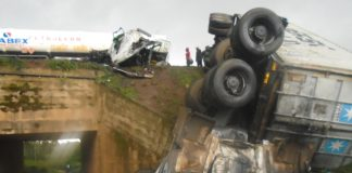 The scene of the grisly road accident