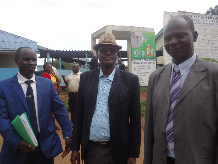 From left: KNUN Nandi branch Secretary Amos Ng'etich, KNUN Chairman John Bii (centre) and Jophinus Musundi at Kapsabet referral hospital