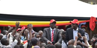 Deputy President William Ruto (left) and Alfred Khang'ati (right) in Namwacha, Bungoma County