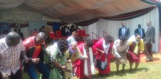First Lady Margaret Kenyatta (centre) during the function at Kitale AIC