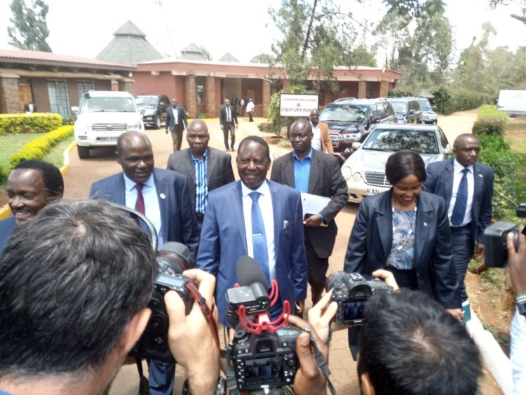 NASA leader Raila Odinga together with IEBC Chairman Wafula Chebukati ahead of their meeting