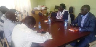 Busia CEC for Water Bernard Yaite (right) during a meeting with World Vision Angurai ADP in Angurai, Teso North Sub County