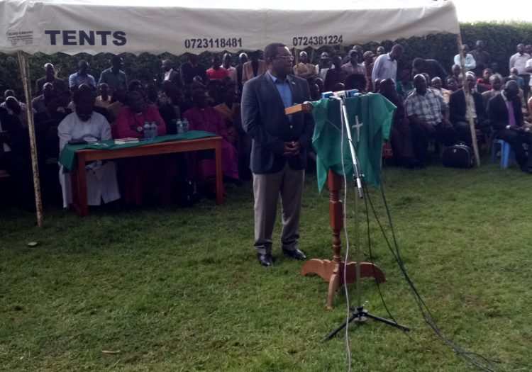 Senate Speaker Ken Lusaka addressing residents at Kimilili Friends girls high school