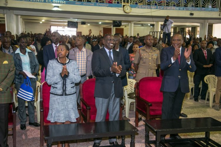 President Uhuru Kenyatta and Deputy President William Ruto at Redeem Gospel Church in Huruma, Nairobi