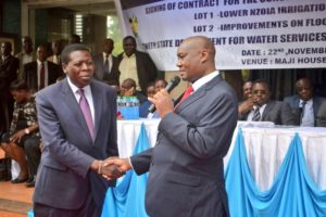 Water CS Eugene Wamalwa and Busia Governor Sospeter Ojaamong at the function