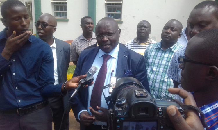 Trans Nzoia Deputy Governor Stanley Tarus addressing the press in Kitale