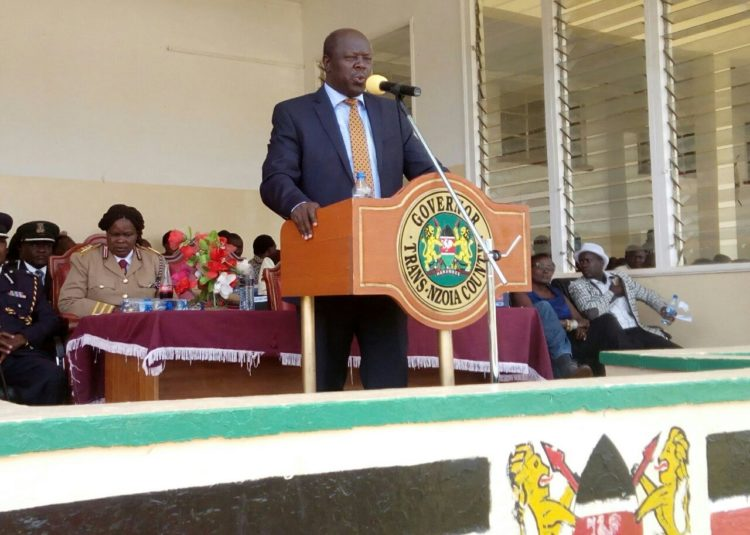 Trans Nzoia Governor Patrick Khaemba addressing residents at Kitale Showground
