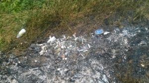 Some of the used medical needles, syringes and other dumped waste at Kipkaren river