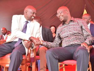 Deputy President William Ruto greets Bungoma Governor Wycliffe Wangamati during his Mt Elgon visit