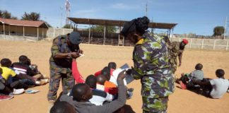 Youths and officials during a past recruitment exercise