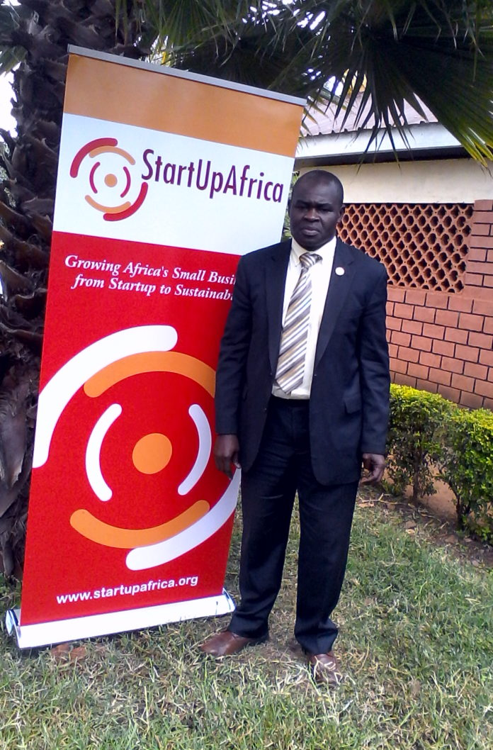 Start Up Africa CEO Mr. Erastus Mong'are during the first pitch competition in Nandi County