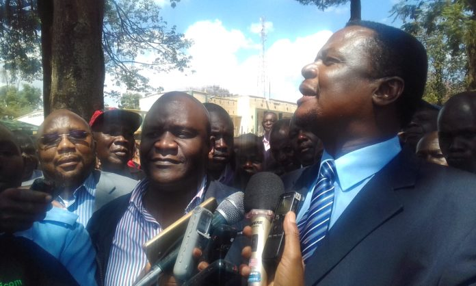Sirisia MP John Waluke addressing his supporters after the Court's ruling