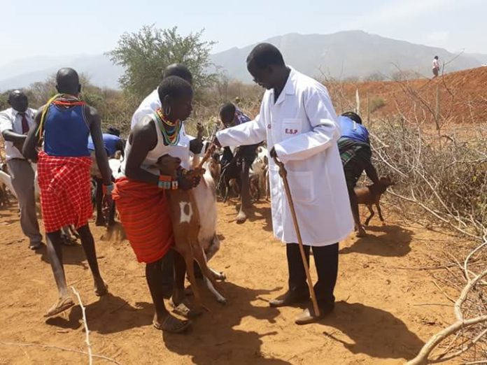 West Pokot Governor John Lonyangapuo during a vaccination exercise