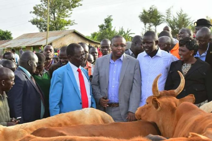 West Pokot Governor John Lonyangapuo and his Deputy Nicholas Atudonyang at the launch of the new Murkwijit market