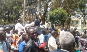 Waluke's supporters celebrating in the streets of Kitale