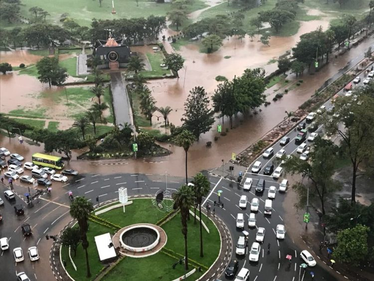 Heavy rains caused flooding in Nairobi city