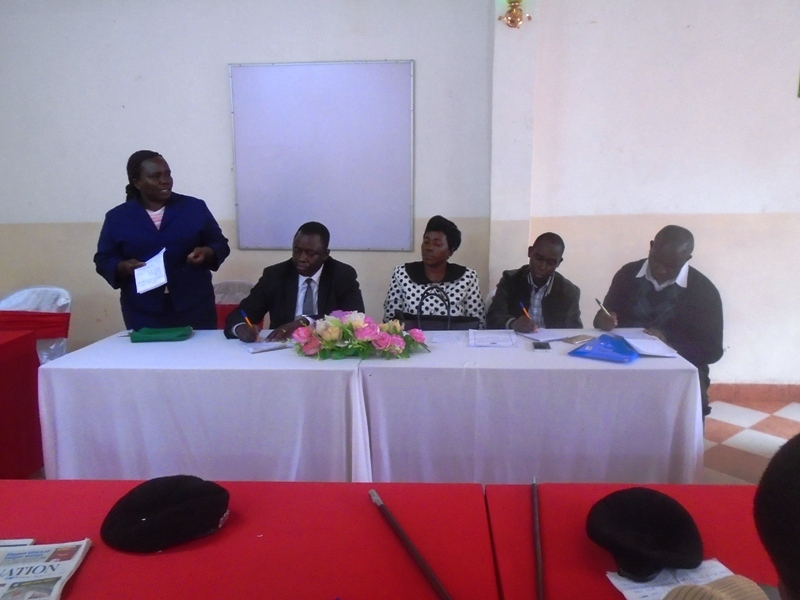 Lugari Deputy county commissioner Agnes Karoki (left) with officials from the ministry of agriculture during the Big four agenda sensitization meeting held in Lugari
