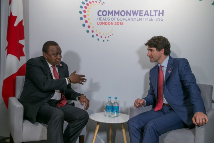 President Uhuru Kenyatta during bilateral talks with Canada Prime Minister Justin Trudeau