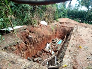 A section of the eight toilets in Lumakanda Township primary school that sunk in April