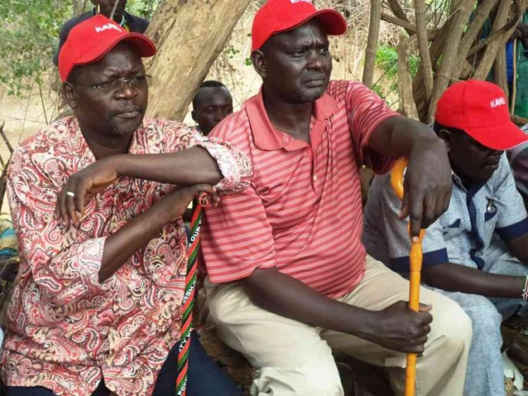 West Pokot Senator Samuel Poghisio (centre) with Governor John Lonyangapuo (left) at a past function
