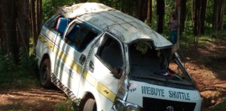 The Nissan matatu that was involved in an accident near Mukhonje trading centre