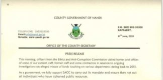 Nandi County Secretary has voiced the County government's support for EACC in the war on graft