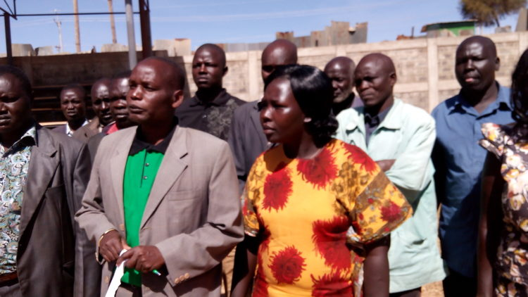 West Pokot KNUT secretary Martin Sembelo (second left) has urged teachers to quit the troubled Kerio Valley area