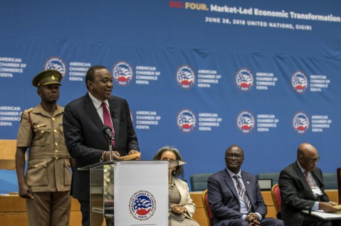 President Uhuru Kenyatta speaking at the official opening of the US-Kenya Trade Conference at UN Complex in Gigiri, Nairobi. PHOTO/PSCU