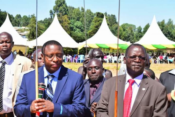 West Pokot John Lonyangapuo(right) with Deputy Governor Dr. Nicholas Atudonyang (left) in a past event