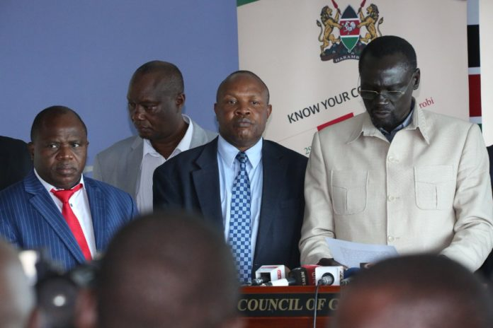Council of Governors chairman Josphat Nanok addressing the press