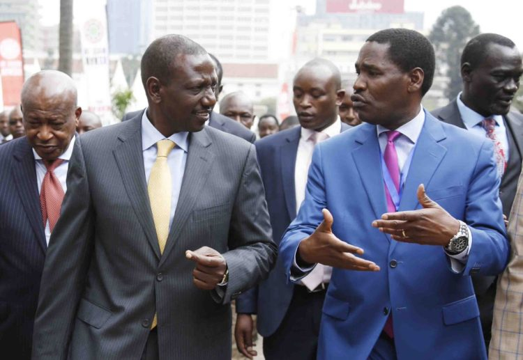 Deputy President William Ruto (left) and Trade CS Peter Munya (right) at the Kenya Trade Week Expo last year