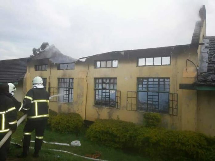A dormitory which was gutted by fire at Chewoyet Boys school
