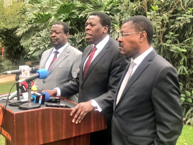 Devolution CS Wamalwa, Senator Wetangula and Mudavadi when they addressed the press on the sugar issues in the country