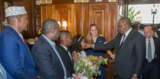 President Kenyatta was received by top Kenyan government and US officials