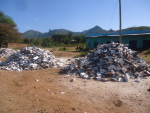 Collected stones that are rich in limestone that can be used in manufacturing of cement