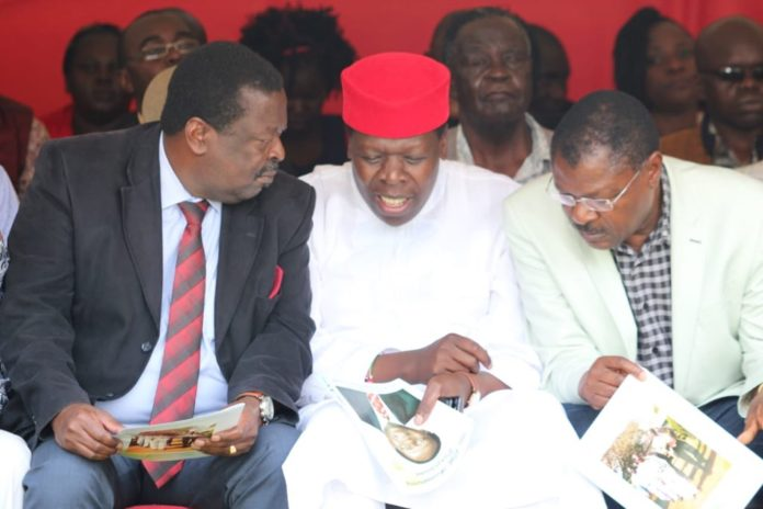 Musalia Mudavadi, Eugene Wamalwa and Moses Wetangula during the 15th anniversary for late Wamalwa Kijana's memorial service