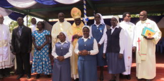 Bishop Philip Anyolo with sister Dorice Wanyonyi after the service