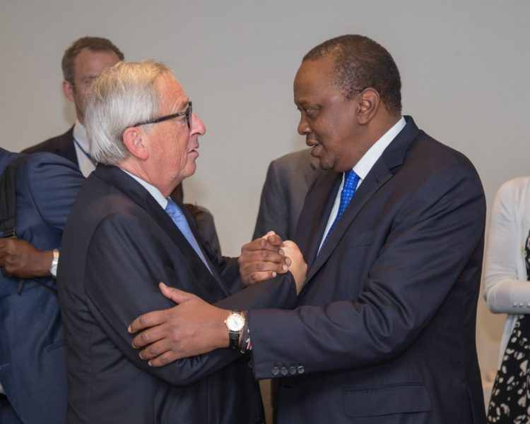 President Kenyatta meeting EU Commission president Jean-Claude Juncker at a past meeting. (PHOTO/PSCU)