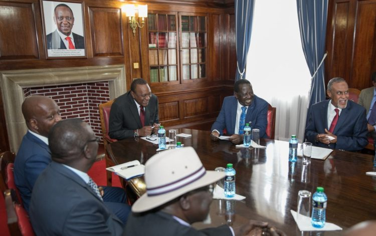 President Uhuru Kenyatta and Raila Odinga when they met the Building Bridges taskforce at State House. (Photo/PSCU)