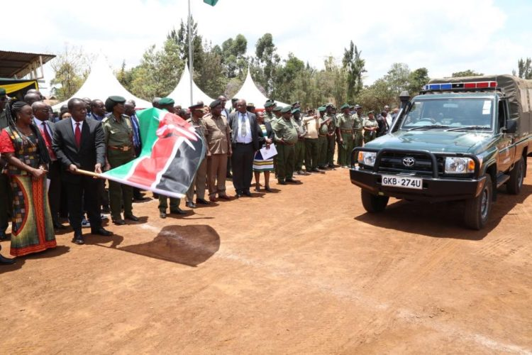 Interior CS Fred Matiang'i flagged off the vehicles